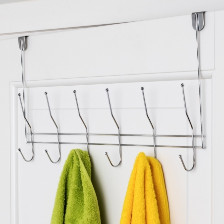 ArtMoon Easy Over Door Rack with 6 Double Hooks Chrome Plated Steel 47X27X5.6cm