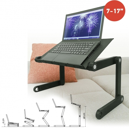 Wonder Worker Newton Laptop Table Desk Ergonomic Folding Bed Tray Cooling Pad Black