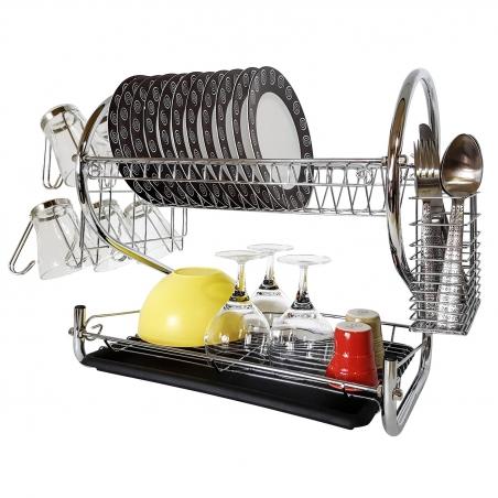 Tatkraft Helga Двухуровневая хромированная сушилка для посуды со съемным держателем для стаканов и столовых приборов