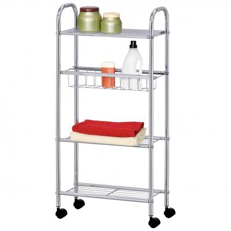 Tatkraft Cute Slim 4-Tier Bathroom Cart Storage Trolley Chromed Metal 16X39X80H cm