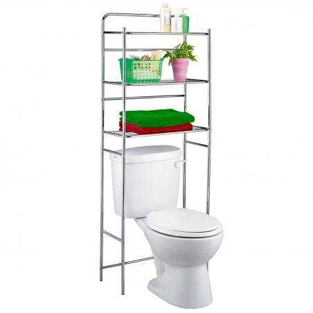 Tatkraft Tanken 3-Tier Bathroom Shelves Over the Toilet Storage, Chromed Steel