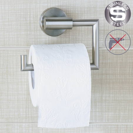 Wonder Worker Hold Toilet Paper Holder Wall Mount No Drill Stainless Steel 15.5X13.5X5.4cm