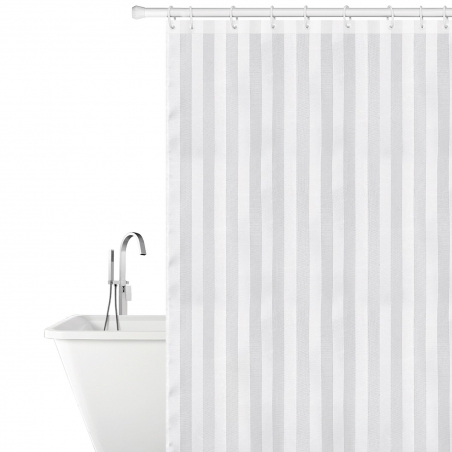 Tatkraft Harmony Fabric Shower Curtain 180X180cm Waterproof Mildew Free with 12 Shower Rings