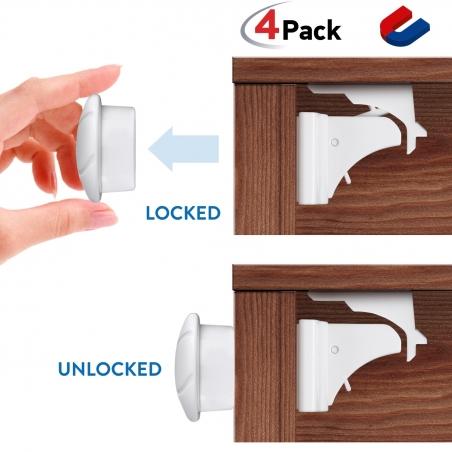 Tatkraft Secret 4 Baby Safety Magnetic Cabinet Locks Self Adhesive