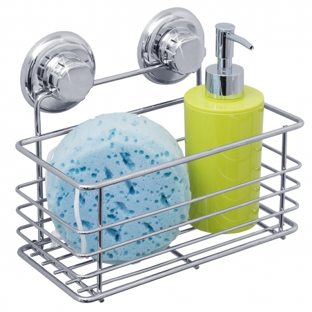 Tatkraft Vena Bath Shelf Shower Caddy Suction Cups Megalock Chrome Plated Steel 23×H14.5x11.5cm