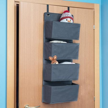 Tatkraft Cozy Over Door Hanging Fabric Organizer 4-Tier Grey