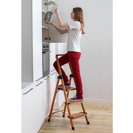 Tatkraft Upstairs High Quality 3 Step Ladder Anti-Slip Steps Aluminium Scandinavian Wood Style