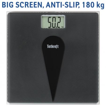 Tatkraft Happy Mother & Baby Digital Body Scale 180Kg/Lbs Infant Mode Highly Precise, Big Screen, Anti Slip, Black