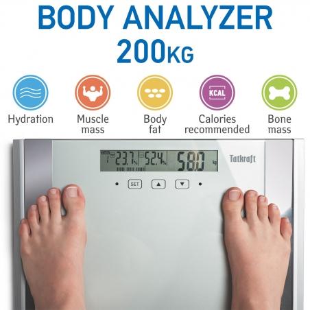 Tatkraft Fitness Digital Body Scale 200kg / 440Lbs Fat Bone Mass Hydration Muscle Analyzer 39X30cm with Large LCD
