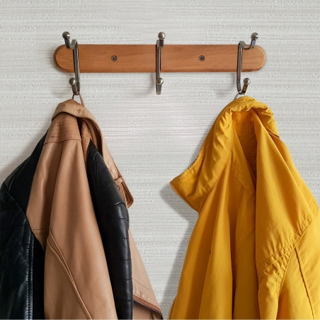 Tatkraft Charm Heavy Duty 5 Double Hooks Wall Coat Rack Steel Coat Hangers Natural Wood