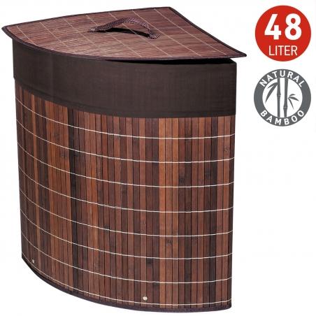 Tatkraft Athena Bamboo Corner Laundry Basket with Cotton Bag 48L 35X35X50 cm