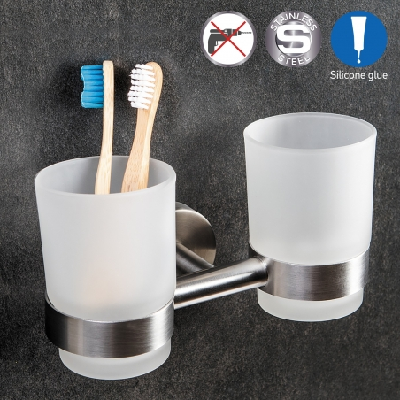 Wonder Worker DALE Double Toothbrush Holder with Two Glass Tumbler Bathroom Organizer Glue Wall Mountable 7 X 4.3 X 4.1""