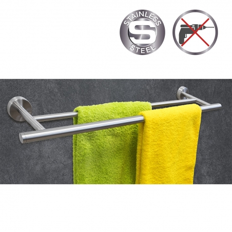 Wonder Worker Fantasy Double Towel Holder Silicone Glue No Drilling Stainless Steel 70x13x5.3H cm