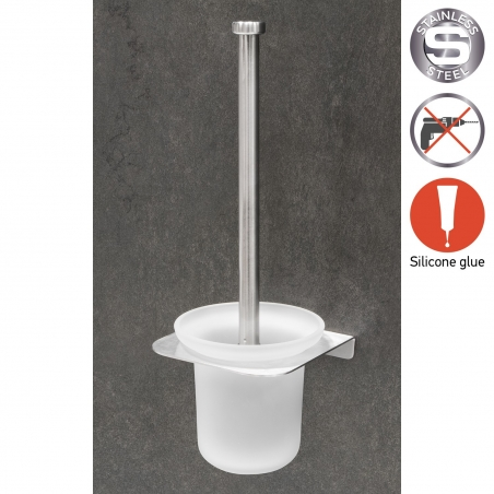 Wonder Worker Hang Toilet Brush with Holder Glue Wall Mounted No Drilling 4.7 X 13.4 X 4.7''