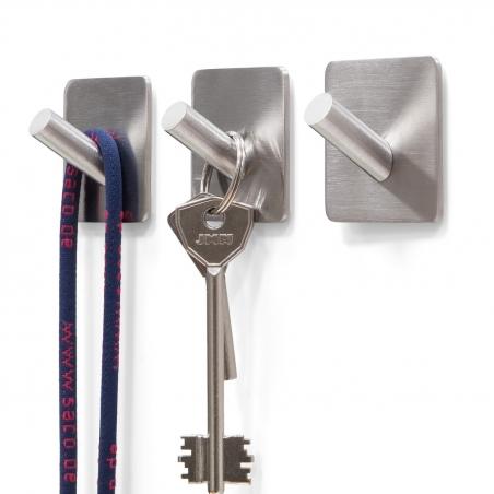 """Tatkraft Amy Self Adhesive Set of 3 Hooks Stainless Steel 1,8 X 1.8 X 1.2"""""""