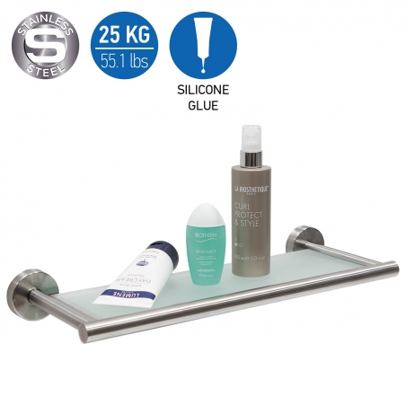 Wonder Worker BOON Tempered Glass Bath Shelf Silicone Glue Strong Fixation 25 kg Brushed Stainless Steel No Rust 16.5 X 2.1 X 6.
