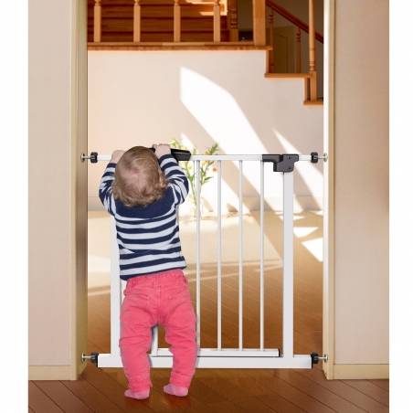 Tatkraft Gate Baby Safety Gate Pressure Fit Durable Steel White for Doorways And Stairs with Color Indicator 29.9-33.5 X 30.3 X