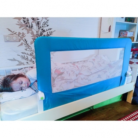 Tatkraft Guard Baby Bed Rail Foldable 120 cm Easy Fit Safety Rail for Toddlers / Kids / Children, Blue, Sturdy and Solid