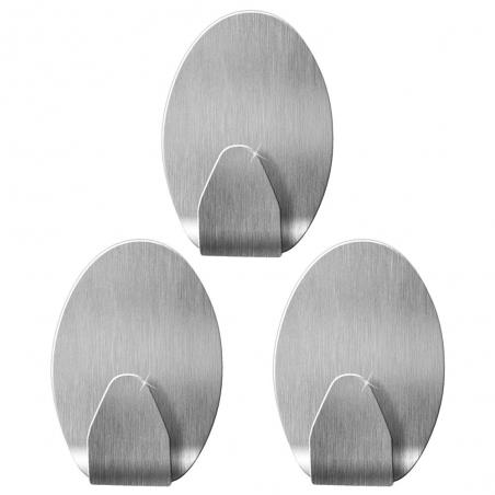 Tatkraft Ovalt Набор из 3 овальных самоклеящихся крючков из нержавеющей стали