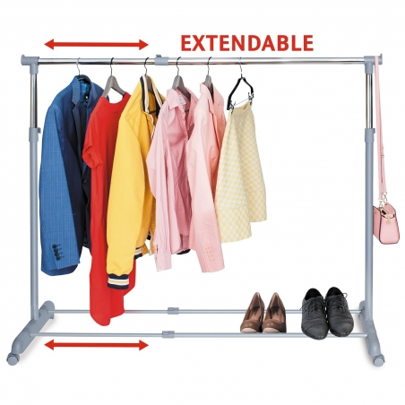 Tatkraft Party Telescopic Clothes Rail Extendable Space, Chrome Plated Steel, 90-150(L) X 44(W) X 96.5-166(H)cm Be ready for the