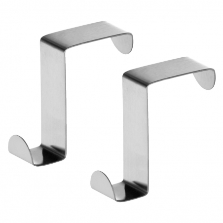 Tatkraft Seger 2 Over the Door Hooks Stainless Steel Over Cupboard and Drawer Hooks for Kitchens and Bathrooms