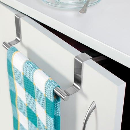 Tatkraft Horizon Over the Door Towel Rail Stainless Steel Towel Holder for Kitchens and Bathrooms with Anti-Slip Scratch-Protect