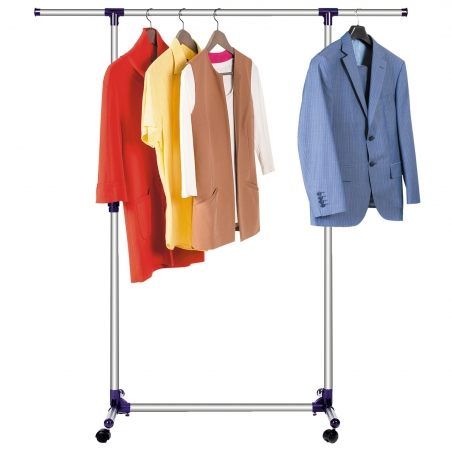 Tatkraft Hamburg Telescopic Clothes Rail Stainless Steel Strong Base Length 87-150 Height 97-160cm