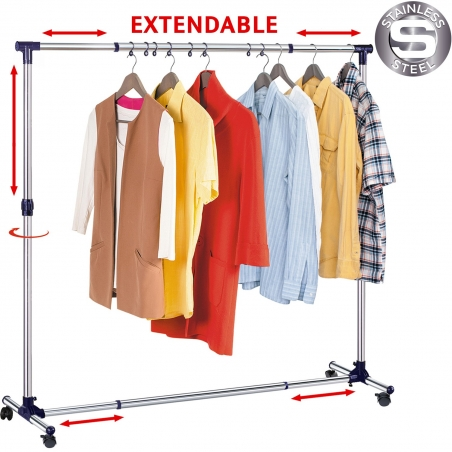 Tatkraft New York Extendable Stainless Steel Clothes Rail with Wheels Strong Base 2.8-4.6 X1.4X 3.2-5.3 Ft