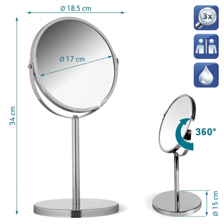 Tatkraft Venus Swivel Mirror for Makeup & Shaving D17cm Chrome 3X Magnification
