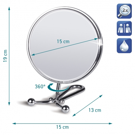 Tatkraft Felicia Double Sided Swivel Mirror for Shaving & Makeup D15cm Chrome 2X Magnification