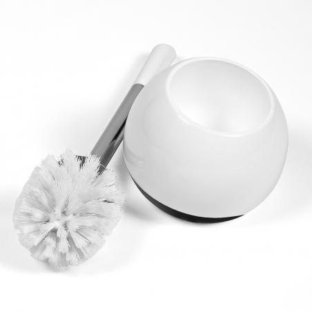 Tatkraft Fioretto Bianco-Nero Toilet Brush Set Shatterproof Double Acrylic