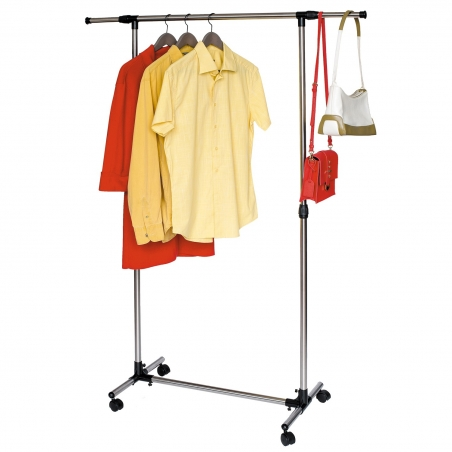 Tatkraft Pegasus Clothes Rail Stainless Steel Brushed Strong Base with Side Bars 84–136(L)*45(W)*90–158(H) cm