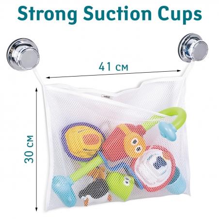 Tatkraft Vacuum Screw Teddy Мешок-cетка для хранения игрушек и ванных принадлежностей на вакуумных шурупах