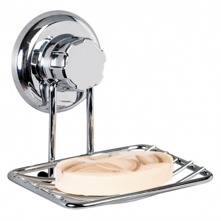 Tatkraft Megalock Soap Dish Holder Wall Mounted Suction Cup Chrome Plated Steel