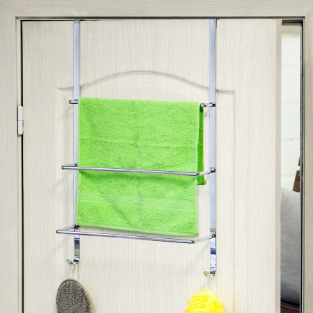 ArtMoon Luck Over Door 3-Tier Towel Rail With 2 Hooks Chrome Plated Steel 17.7 X 4.1 X 27.2""